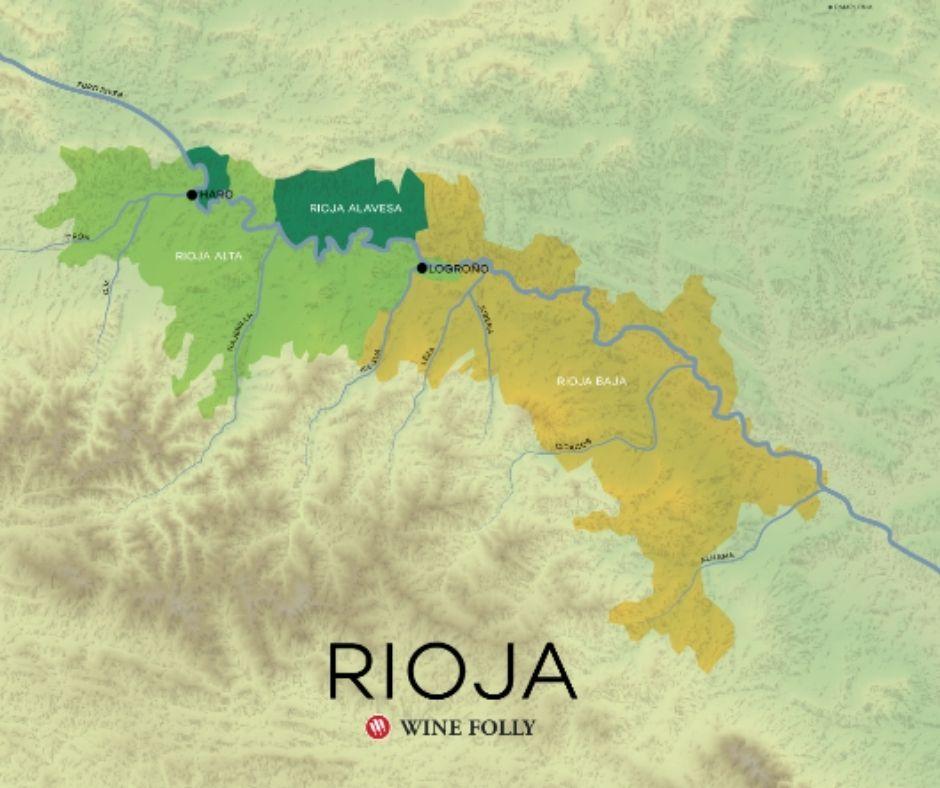 Carte viticole Rioja - source: winefolly.com