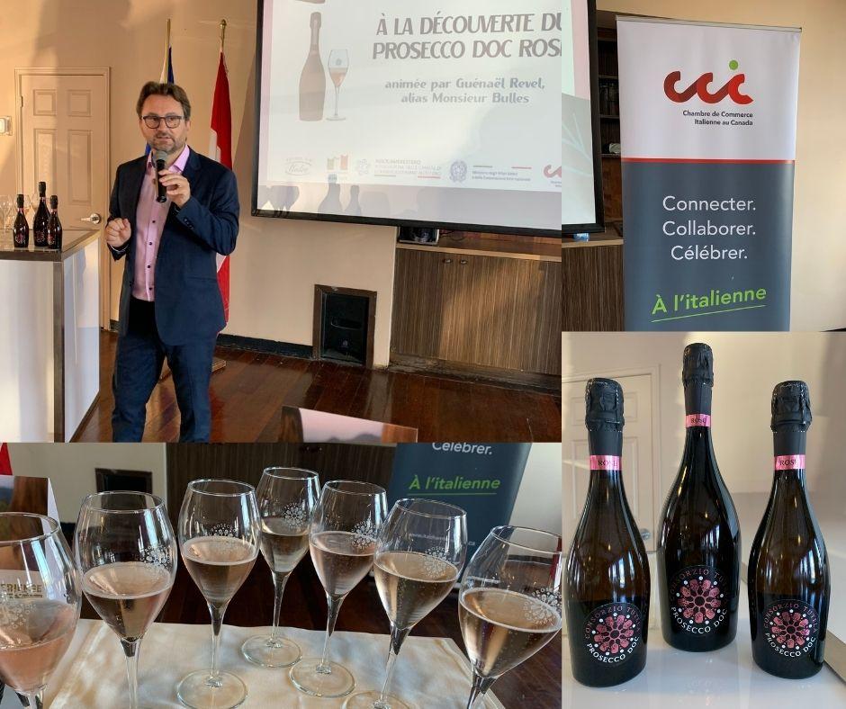 Présentation de Guenael Revel sur le Prosecco Rosé, dégustation de 7 vins