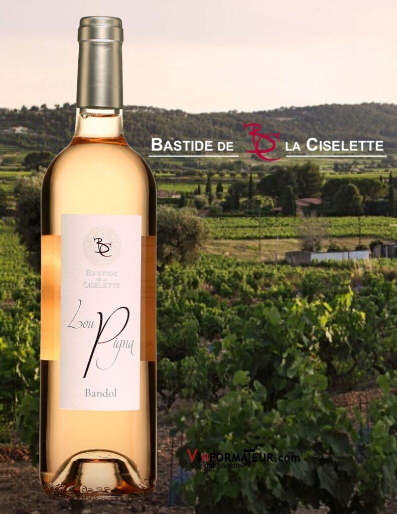 Bouteille de Lou Pigna, Rosé de Bandol, Bastide de la Ciselette, France, Bandol AOC, 2020 et vignobles