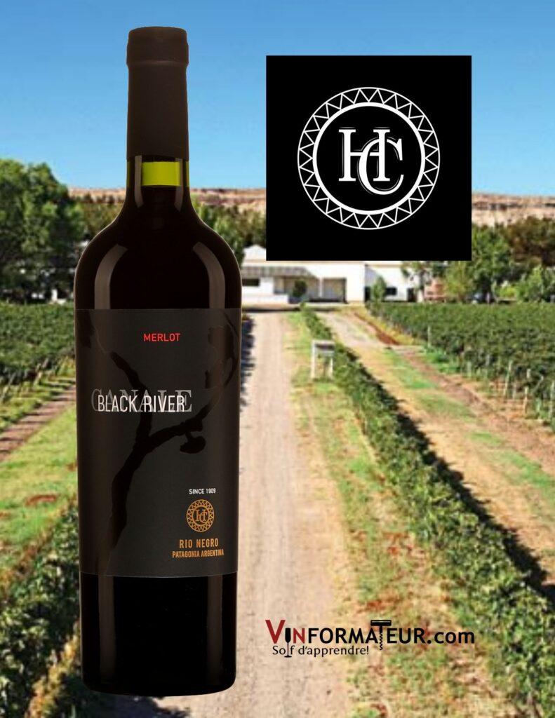 Bouteille de Black River, Merlot, Argentine, Pantagonie, Rio Negro, Bodega Humberto Canale, vin rouge, 2019 et vignoble