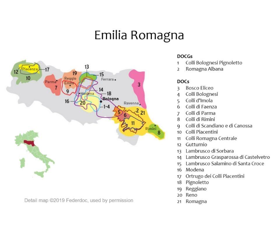 Carte viticole d'Émilie Romagne