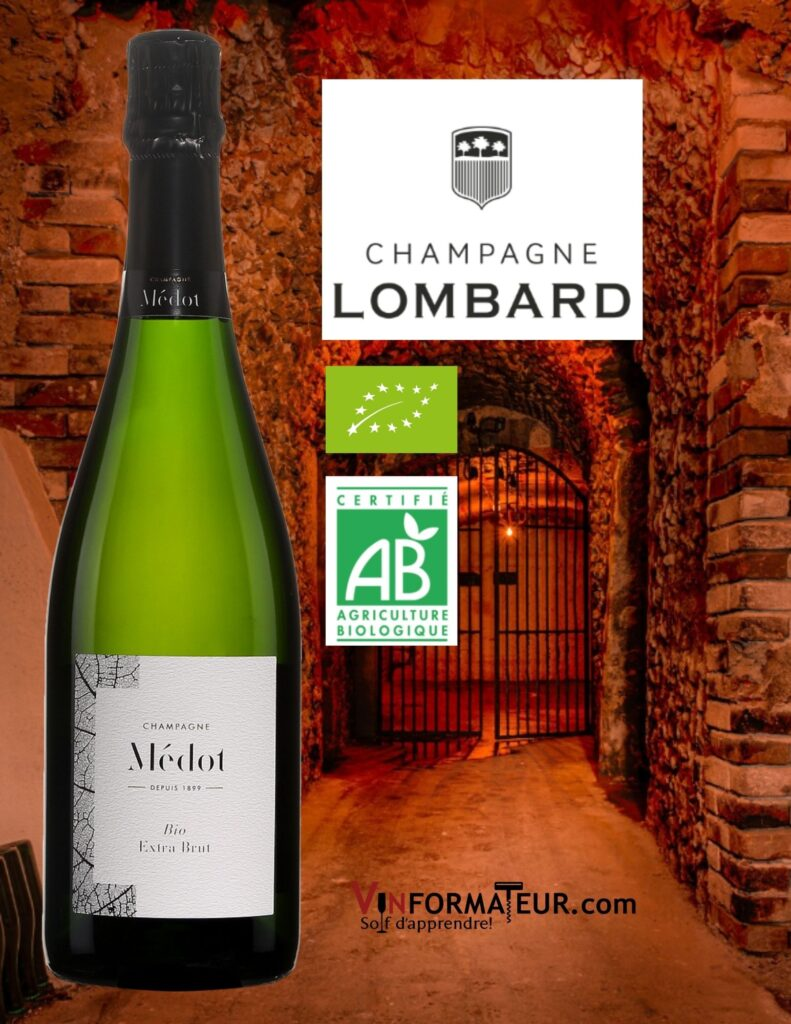BOuteille de Champagne Médot, Extra Brut bio, Vallée de la Marne, Champagne Lombard et photo de la cave