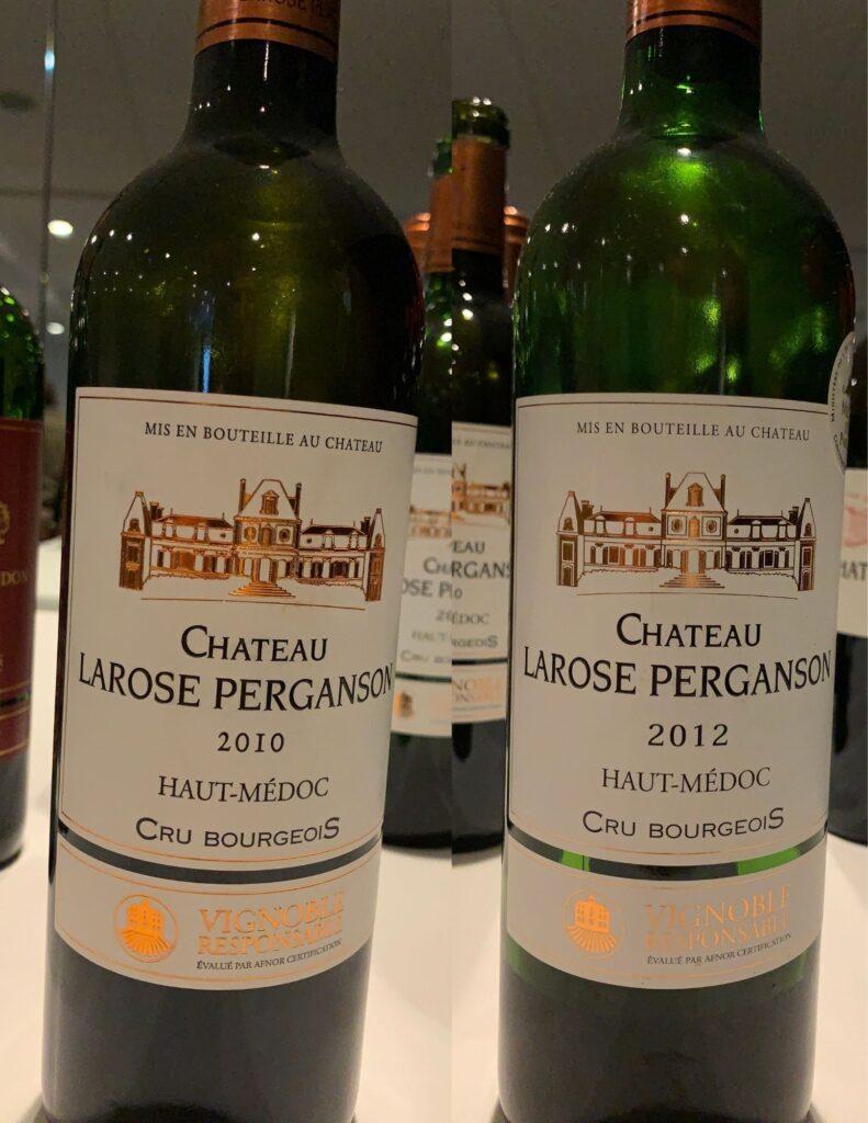 Bouteilles de Château Larose Perganson, Bordeaux, Haut-Médoc, Cru Bourgeois, (Cru Bourgeois Supérieur millésime 2018+), 2010 et 2012