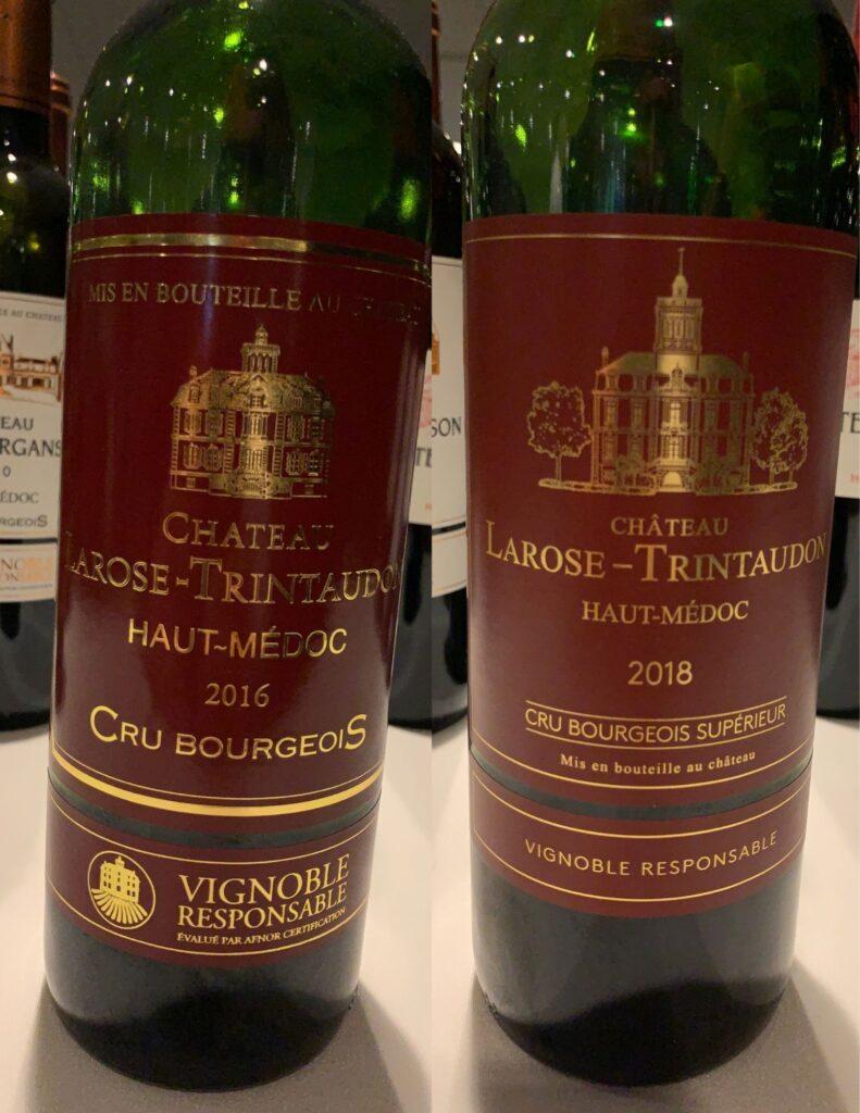 Bouteilles de Château Larose-Trintaudon, Bordeaux, Haut-Médoc, Cru Bourgeois, (Cru Bourgeois Supérieur millésime 2018+), 2016 et 2018