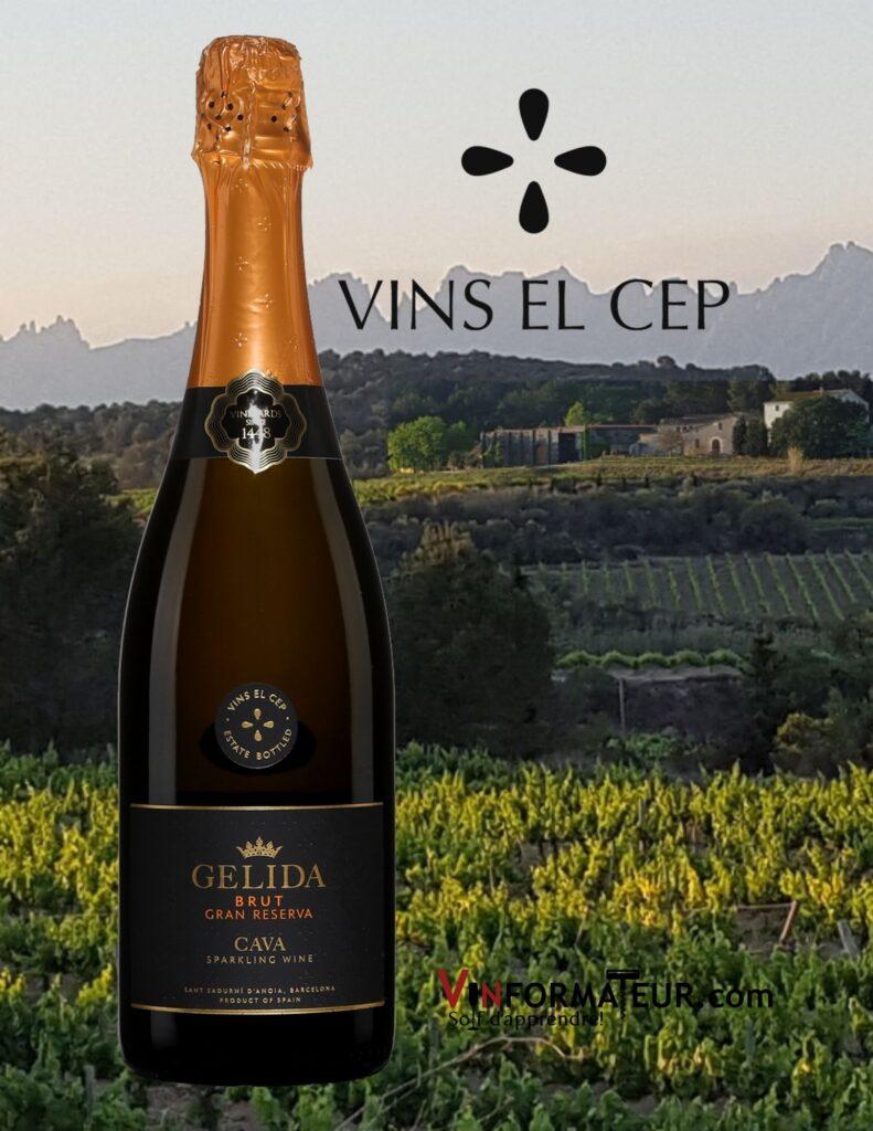 Bouteille de Gelida, Cava Brut, Gran Reserva, Espagne, vin mousseux bio, 2015 avec vignobles