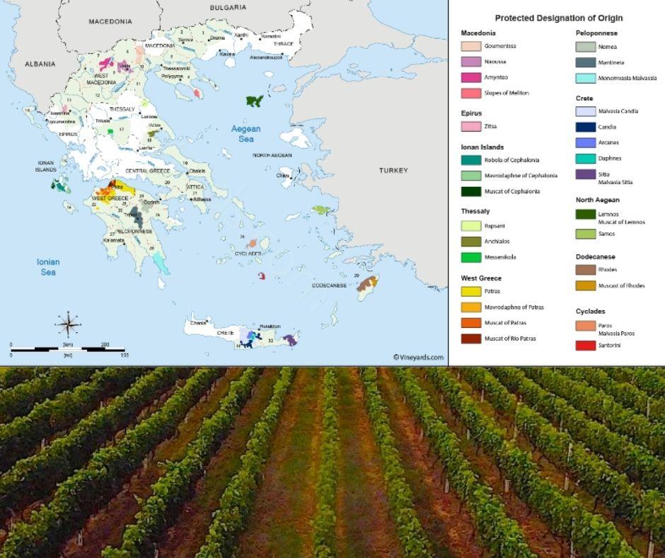 Carte viticole Grèce