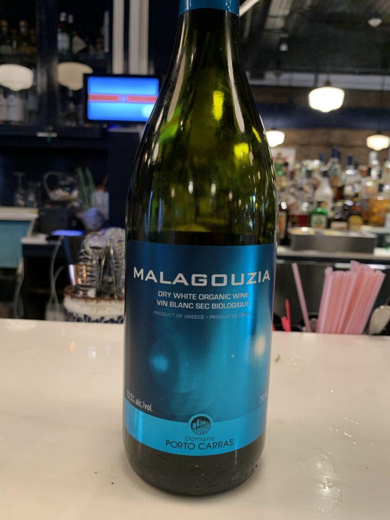 BOuteille de Domaine Porto Carras, Malagouzia, vin blanc bio, 2020