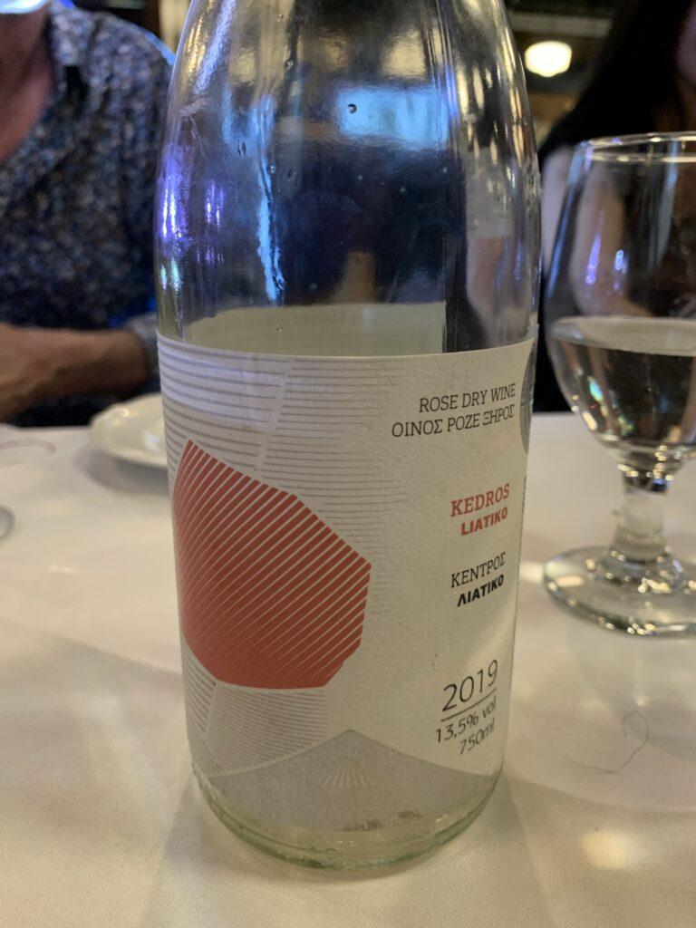 Bouteille de Lyrarakis wines, Liatiko, Kendros, Crète, vin rosé 2019