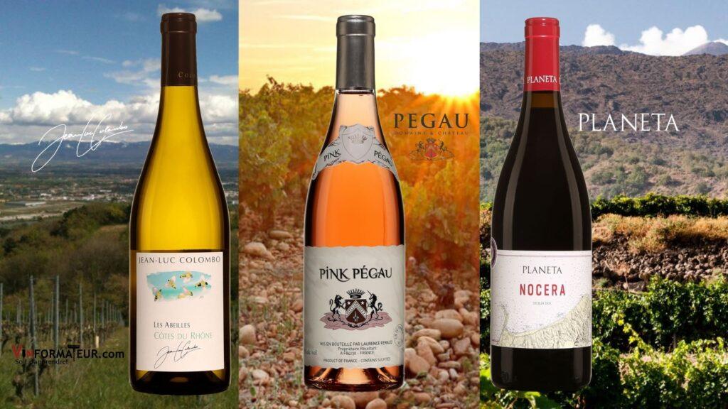 Trois bouteilles de vins en blanc, rosé et rouge: Jean-Luc Colombo, Les Abeilles, France, 2020, Pink Pégau, 2020, Planeta, Nocera, Sicile, 2018 et vignobles