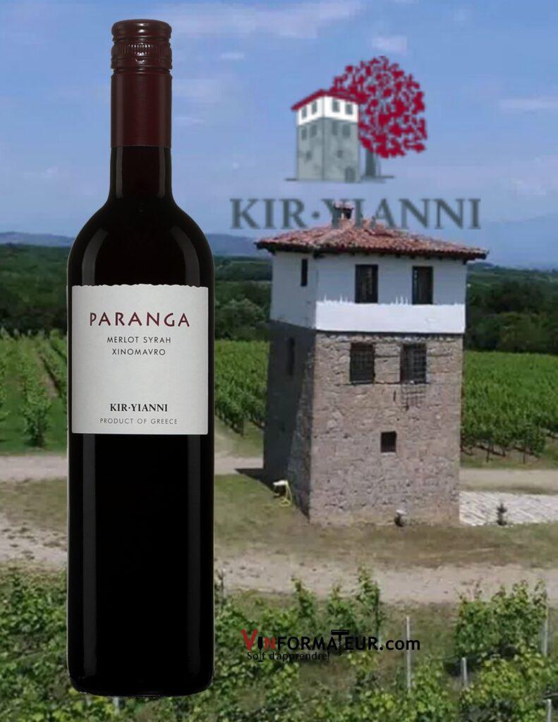 Bouteille de Paranga, Kir-Yianni, Grèce, Macédoine, Naoussa, 2019 et vignobles