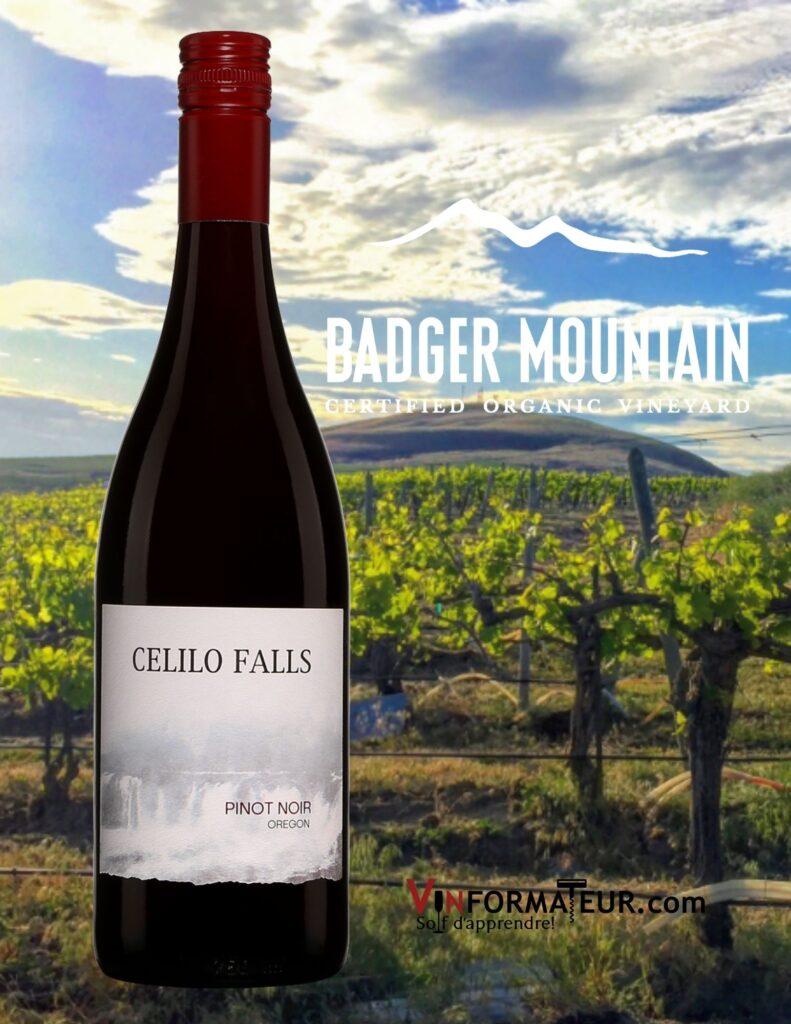BOuteille de Pinot Noir, Celilo Falls, États-Unis, Oregon, Badger Mountain Vineyards, vin rouge bio, 2019 et vignoble