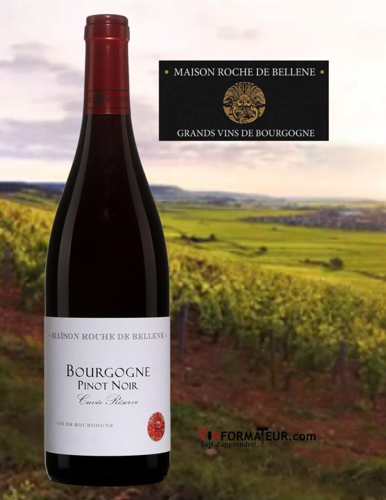 Bouteille de Pinot Noir, Bourgogne, Maison Roche de Bellene, Cuvée Réserve, 2019 et vignobles