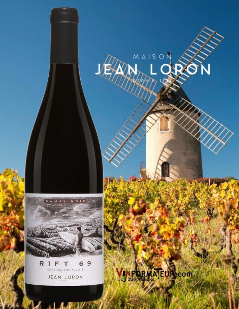 Bouteille de Rift 69, France, Beaujolais Villages, 2020 et vignoble et moulin à vent