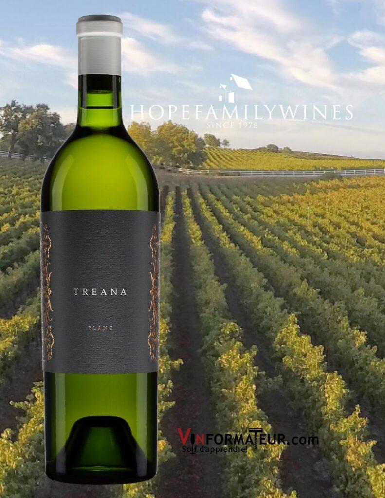 Bouteille de Treana, Viognier, Marsanne, Roussanne, vin blanc, Californie, Central Coast, 2019