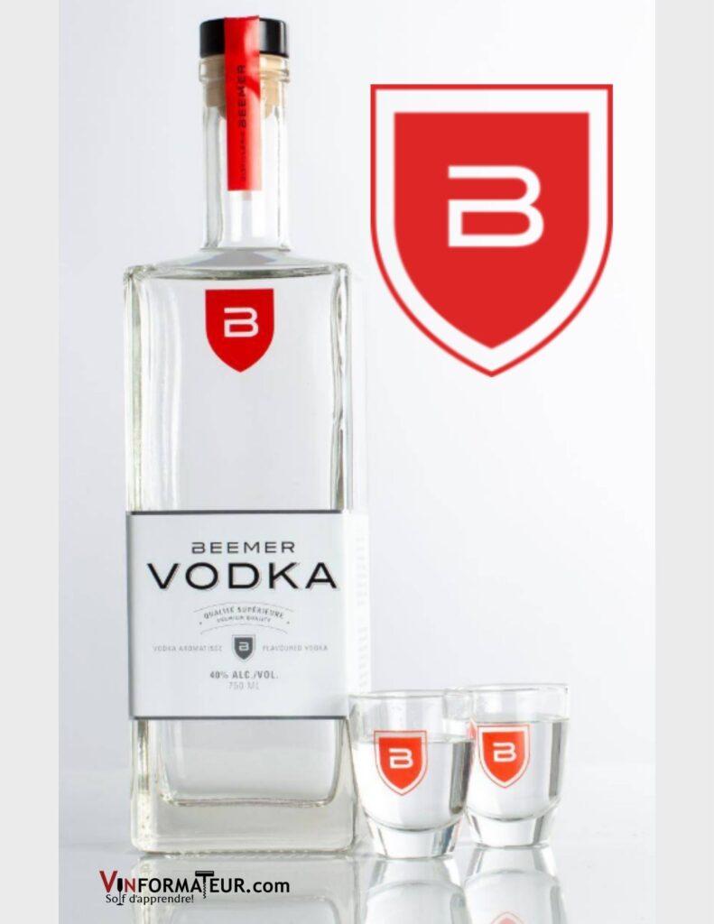 Bouteille de Beemer Vodka, aromatisée au bleuets