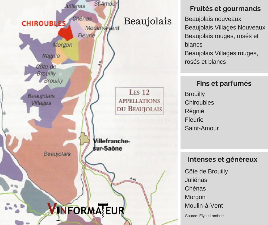Carte viticole Beaujolais: source Elyse Lambert