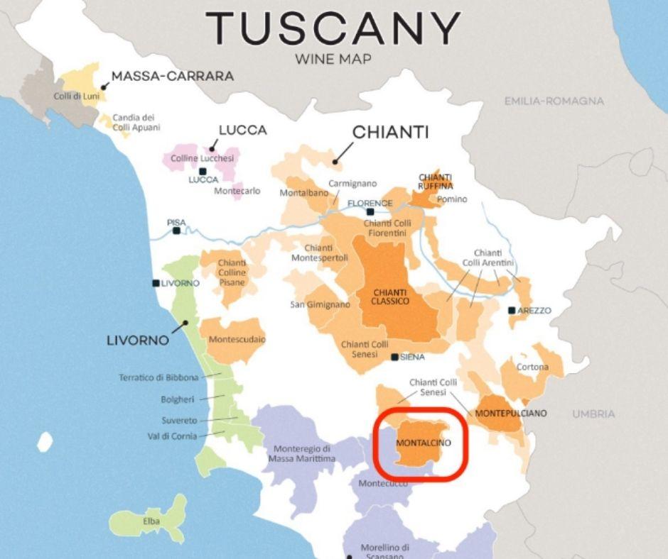 Carte viticole de Toscane