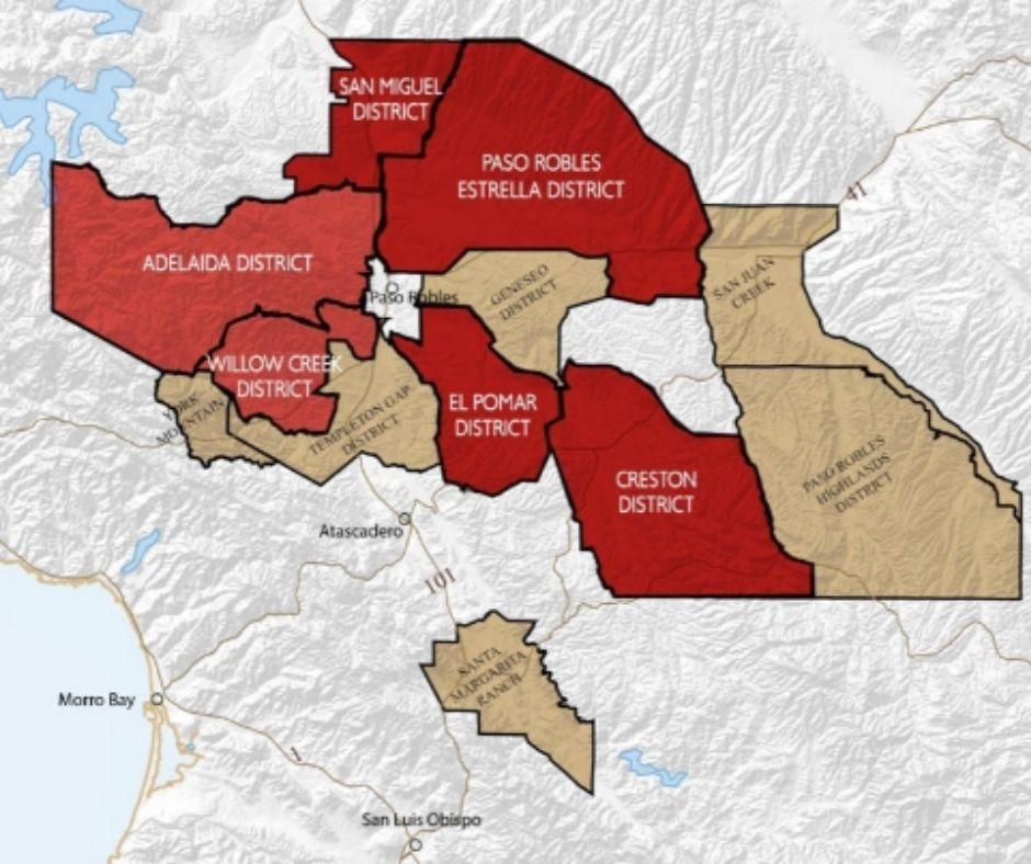 Carte viticole Central Coast Paso Robles