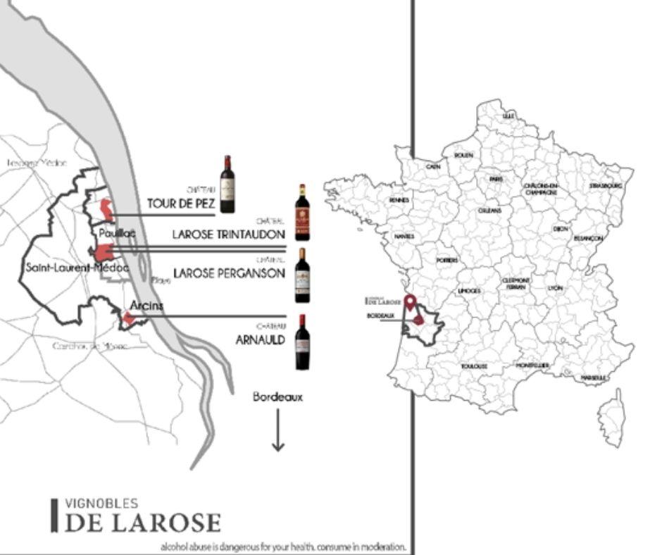 Carte viticole Vignobles de Larose