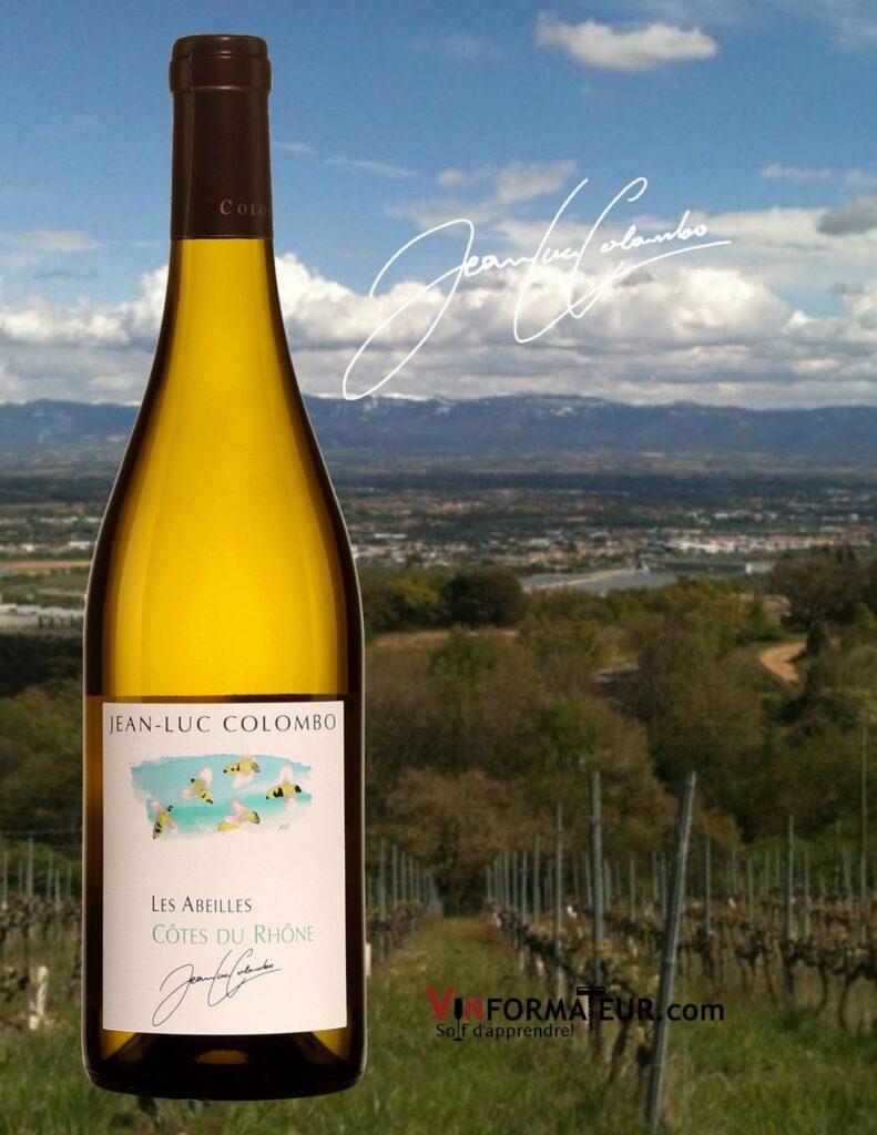 Bouteille de Jean-Luc Colombo, Les Abeilles, France, Côtes du Rhône méridionales, 2020 et vignobles