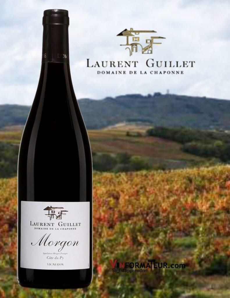 Bouteille de Laurent Guillet, Domaine de la Chaponne, Beaujolais, Morgon AOC, Côte du Py, vin rouge, 2018