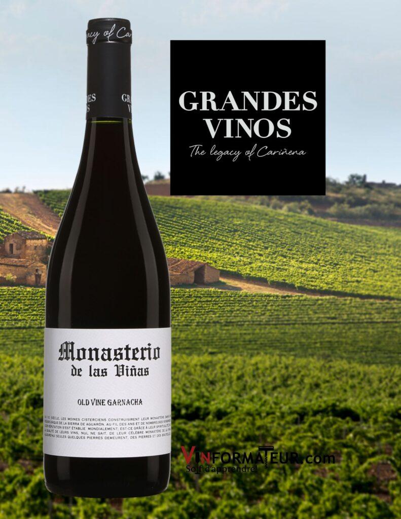 Bouteille de Monasterio de las Vinas, Old Vine Garnacha, Espagne, Carinena, 2019 et vignobles