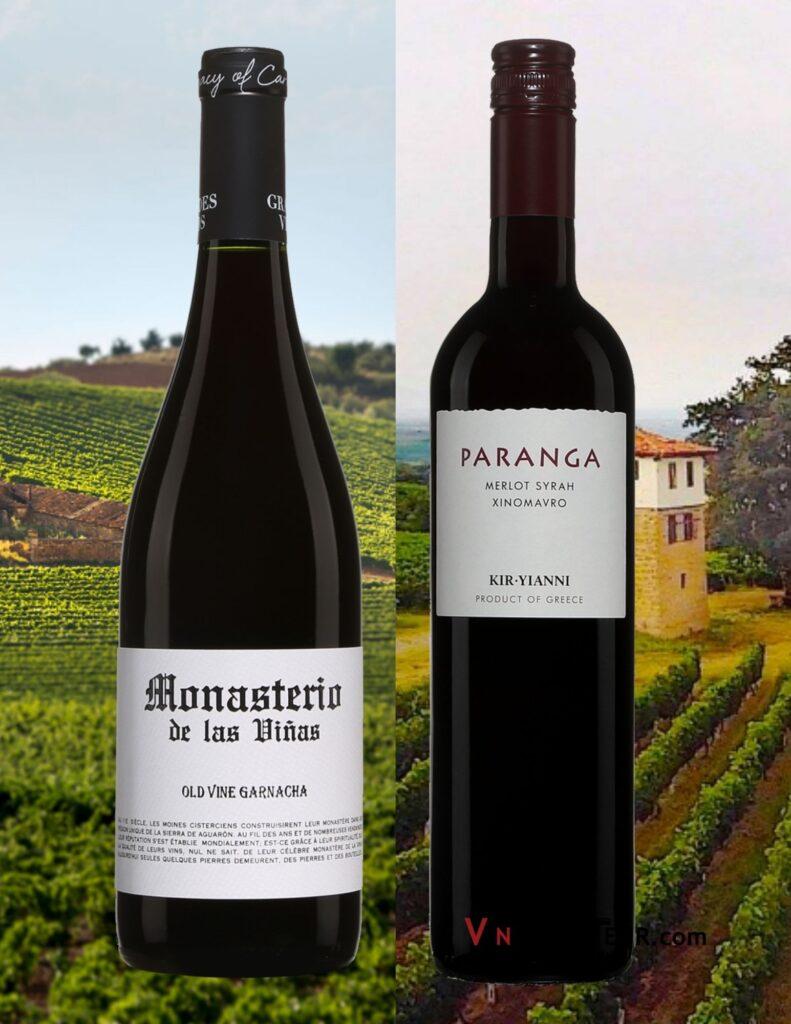 Bouteilles de Monasterio de las vinas old vines garnacha 2019 Paranga Kir Yianni rouge 2019 et vignobles