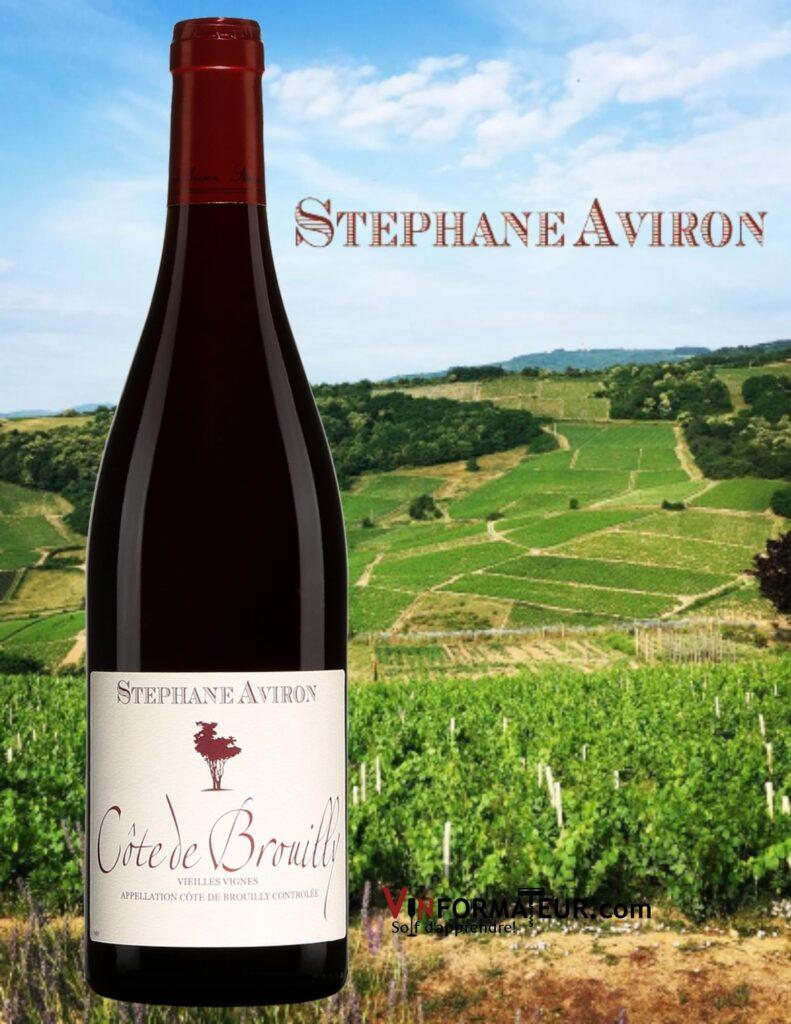 Bouteille de Stéphane Aviron, Beaujolais, Côte de Brouilly, Vieilles Vignes, 2019 et photo des vignobles