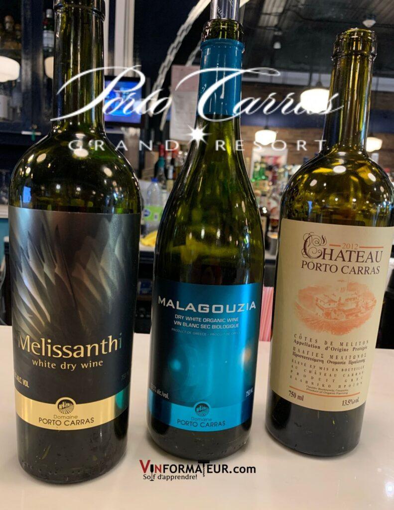Bouteilles de Vins grecs bio du Domaine Porto Carras: Melissanthi, Malagouzia et Château Porto Carras