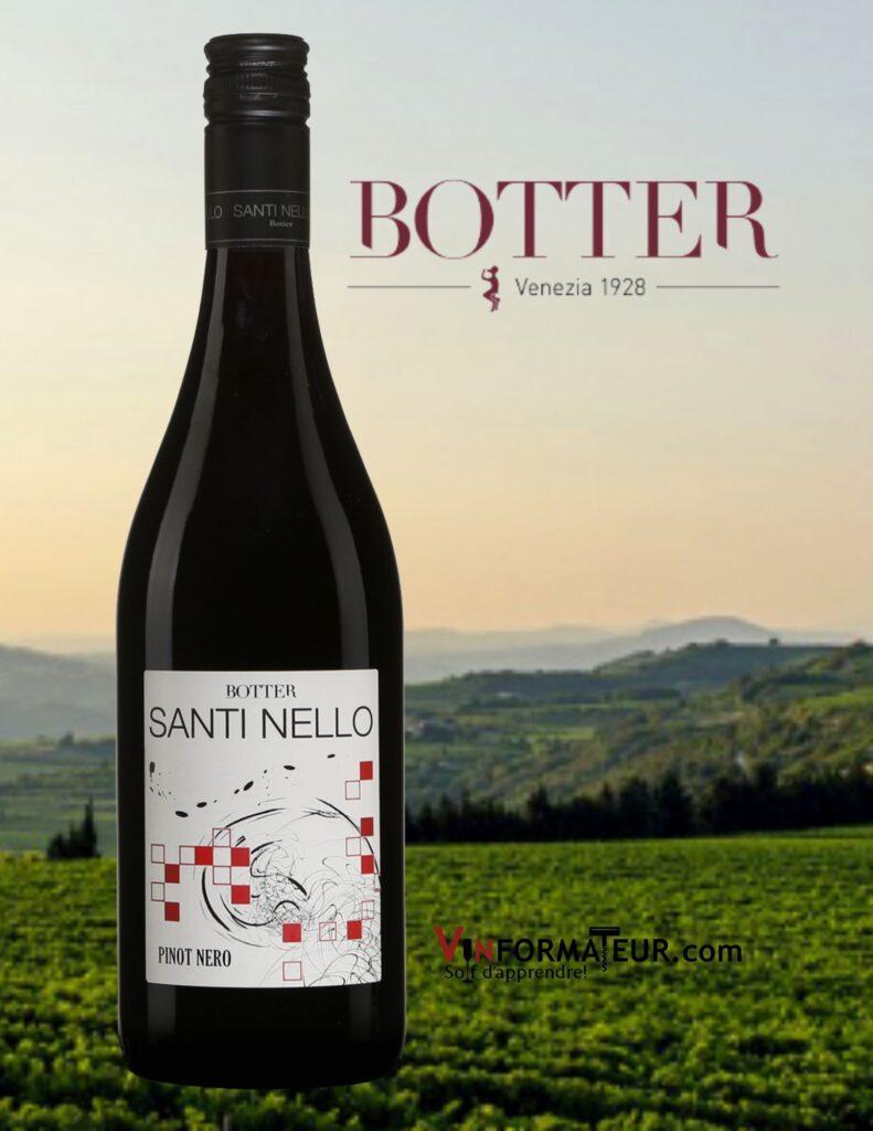 Bouteille de Santi Nello, Pinot Nero, Botter, Italie, Frioul-Vénétie Julienne, Trevenezie IGT, 2020
