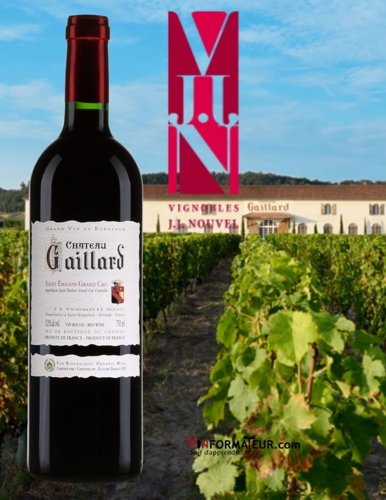 Bouteille de Château Gaillard, Bordeaux, Saint-Émilion Grand Cru, vin rouge bio, 2018