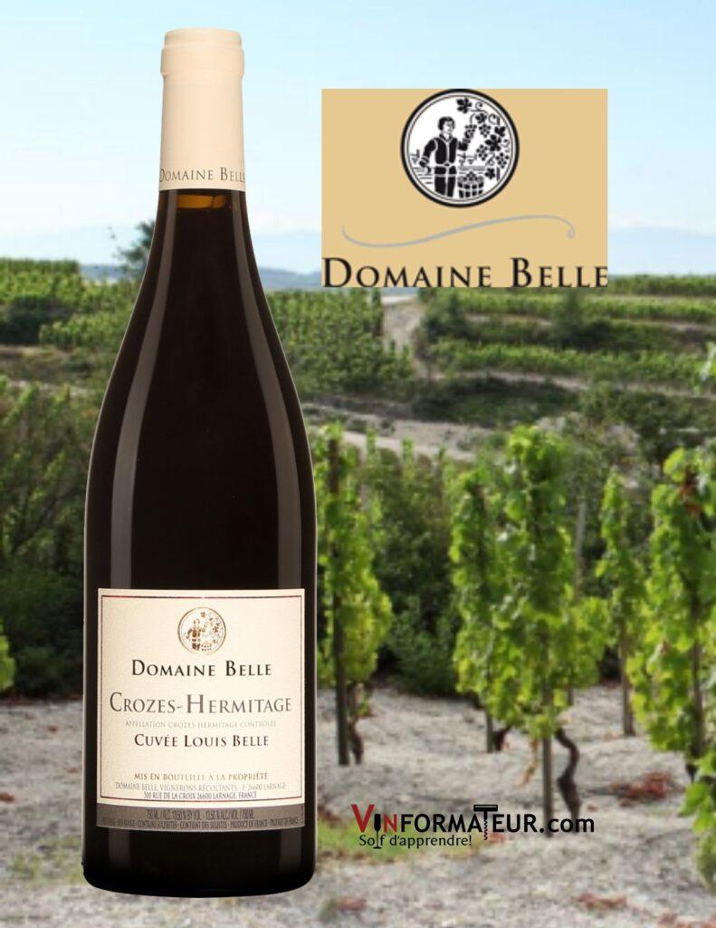 BOuteille de Domaine Belle, Cuvée Louis Belle, France, Côtes du Rhône Septentrional, Crozes-Hermitage, vin rouge bio, 2016