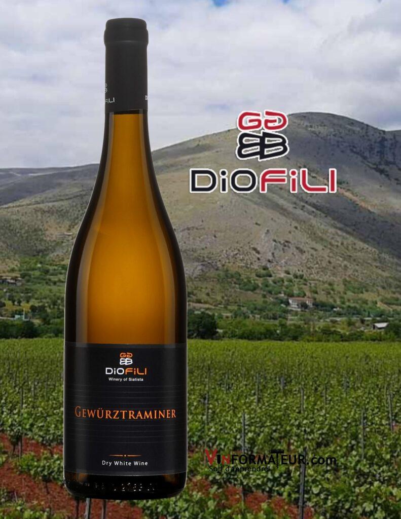 Bouteille de Diofili, Gewurztraminer, Grèce, Macédoine, Georgia Goutziamani-Ioannis Polizos, vin blanc, 2019