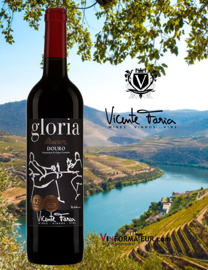 Bouteille de Gloria, Reserva, Portugal, Douro, Vicente Faria, vin rouge bio et vegan, 2019