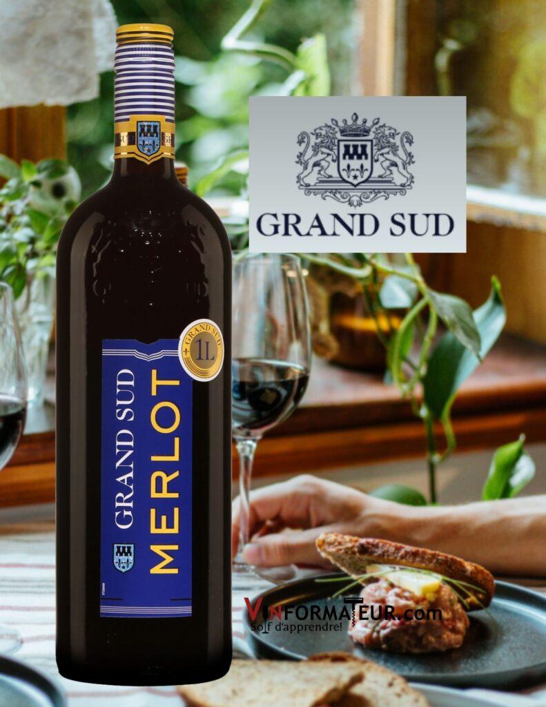 Bouteille de Grand Sud, Merlot, vin de France, Grands Chais de France, 2020