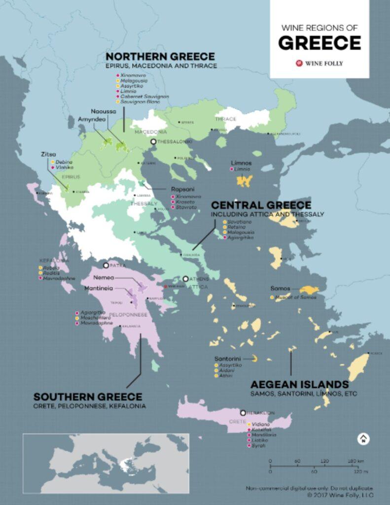 Carte viticole de Grèce (source: winefolly.com)