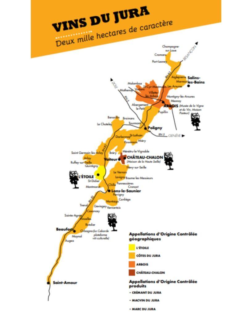 Carte viticole du Jura