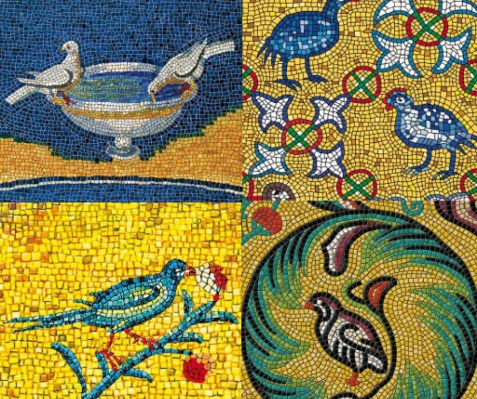 Mosaiques utilisées sur les étiquettes des vins de la maison Feudi di San Gregorio